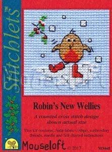 Mouseloft Robin's New Wellies Card Christmas Stitchlets cross stitch kit